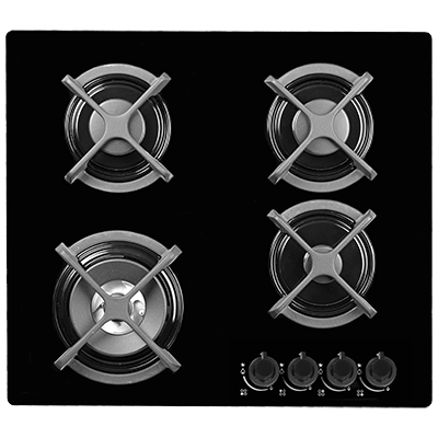 <span>60cm gas cooktop</span>4 burner black glass