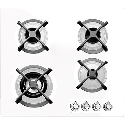 <span>60cm gas cooktop</span>4 burner white glass