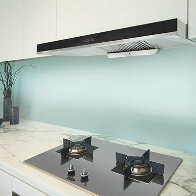 <span>Canopy Rangehood</span>stainless steel body, black glass fascia